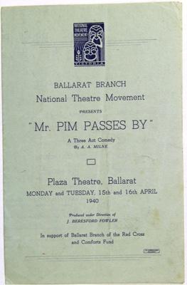 Comedy Theatre Show Programmes, 1940; J Beresford Fowler; 15 Apr 1940; 82.1413