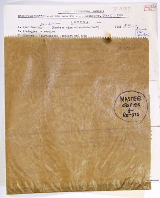Ballarat Historical Society executive agenda; Ballarat Historical Society; 1983; 78.2709