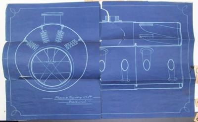 Cornish Flue Boiler Blueprint Plan, Blueprint of the plan for a Cornish Flue Boiler for the Phoenix Foundry Co..