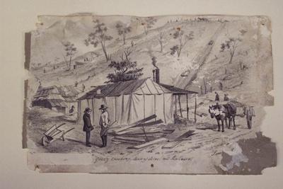 Quartz crushing, base of Black Hill, Ballarat 1855.  S.T. Gill; 352.81