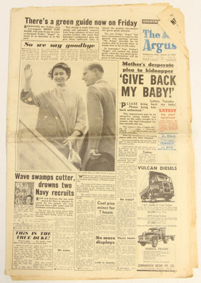 """14 Golden Days for Victoria"" Queen Visit 1954; The Argus; 1954; 2011.0625"