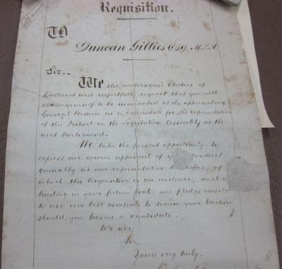 Requisition, Duncan Gillies Esq., M.L.A.1861; 1860s; 2010.0538