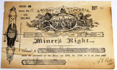 Miner's Right - Helen Stephens 1892; Colony of Victoria; 06 Jun 1891; 2018.0619