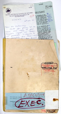 Ballarat Historical Society executive file of original minutes and correspondence; Ballarat Historical Society; 78.2711
