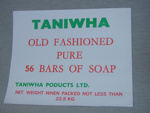 Taniwha Soap Packaging Label; Taniwha Products Limited; OHS OJ006