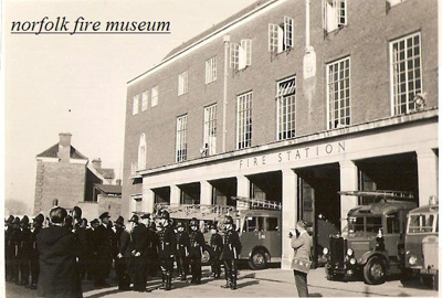 Photograph of parade at Bethel Street Fire Station in Norwich circa late 1950s; NFMBDM2012.3