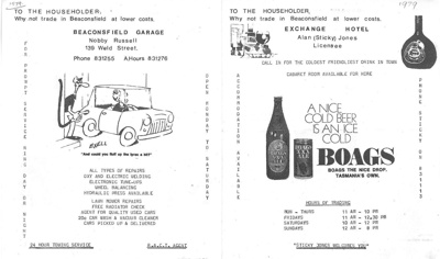 Advertising brochure, local businesses, Beaconsfield, Tasmania; unknown; 1979; BMHC_11052