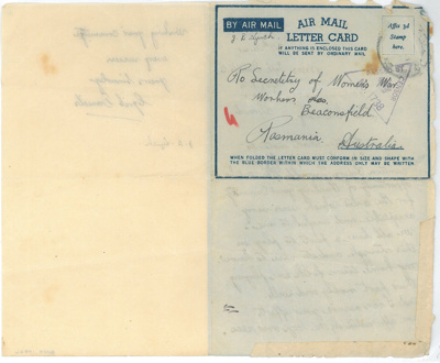 Letter to Women's War Workers Association, Beaconsfield from Lance Corporal Cyril Daniels; Daniels, Cyril; 27-11-1941; BMHC_10746