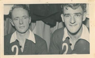 Players with 'Swans' football team, Beaconsfield, Tasmania