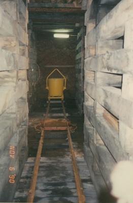 Kibble on rail track, 'Harry's cross cut' Beaconsfield gold mine; unknown; 06-11-1990; BMHC_14767