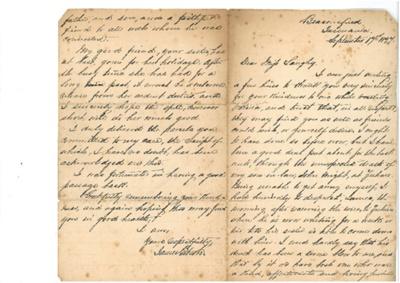 Letter from James Gibson, Launceston, Tasmania, Australia to Miss Langley, Beaconsfield, Tasmania, Australia