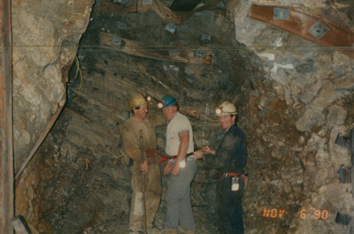 Three miners, 'Harry's cross cut' Beaconsfield gold mine; unknown; 06-11-1990; BMHC_14768