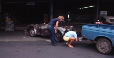 Frazer Nash Mille Miglia being towed after purchase; Bob Schmitt; 1975-12-17; 1975.2