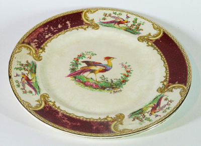 Dinner plate, 'Chelsea bird' design, china; Myott & Son Co. Ltd; [1930-1942]; 981.38.3