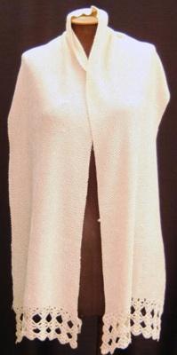 Scarf, mens, cream crocheted silk; [1920-1940]; 97.184