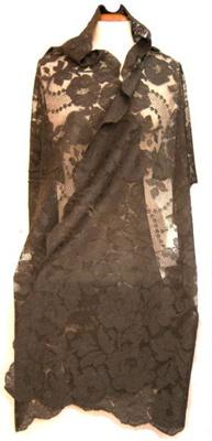 Shawl, black lace; 97.160