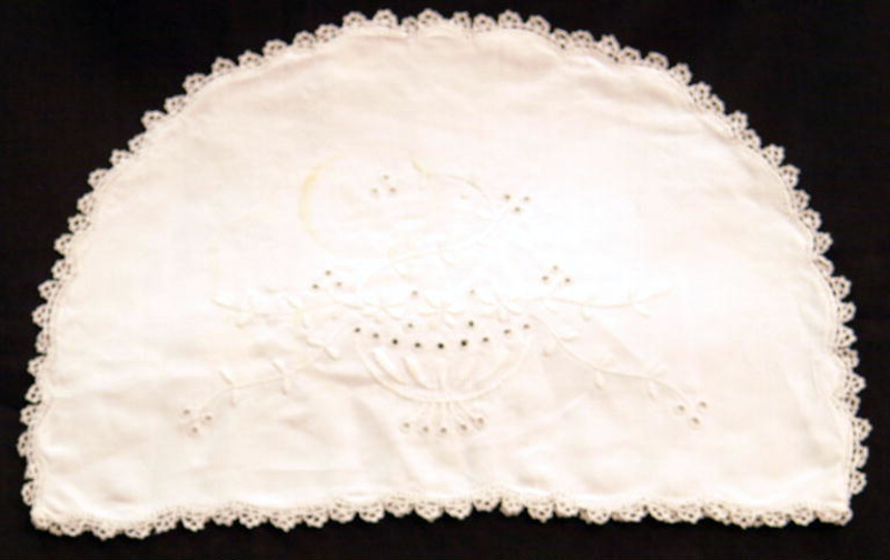 Pillow Sham Embroidered White Linencrochet 1900 1950 97269 On