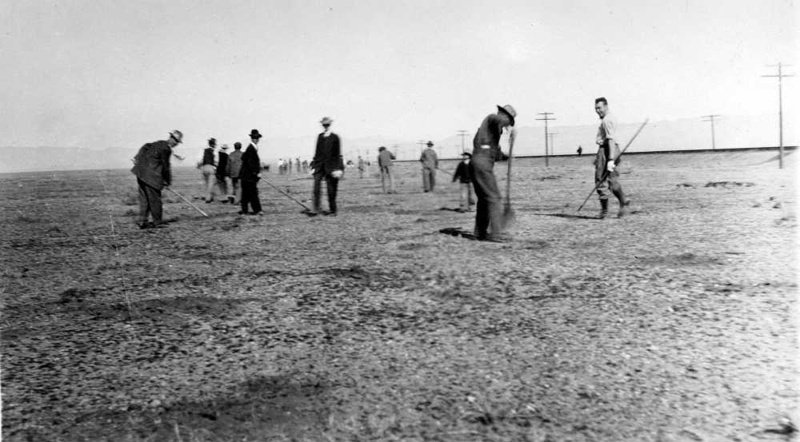 ca 1920 - Residents leveling in preparation for National Old Trails Hwy, what would become Route 66, courtesy of the Mohave Museum of History & Arts.