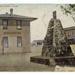 """picture postcard, hand tinted view of Mineral Monument, Kingman, AZ. Also visible is the """"Santa Fe Eating House"""" Published by Gaddis & Perry, Kingman, AZ; 07/05/1910; 16020"""