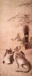 Two Cats and Plants; Ogura, Sotan, Asian, Japanese; Edo period; HU 70.50