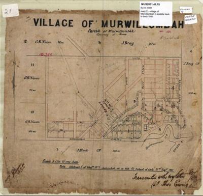 Map, Village of Murwillumbah, Parish of Murwillumbah, County of Rous, 'J Bray', 1881