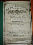 Royal Humane Society Certificate; 1912; TH2003.211
