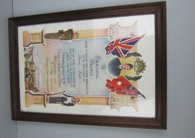 Framed certificate; TH2005.57