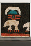Höyhen koristeinen tekstiilifragmentti / Textilfragment av en fjäderdräkt / Fragment of feather garment; AD  850 - 1450; DAM7725
