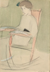 Tyttö keinutuolissa / Flicka i gungstol / Girl in a rocking chair; Schjerfbeck, Helene; 1910; DAM1066