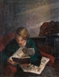 Lukeva tyttö / Läsande flicka / Girl reading; Cawén, Alvar; 1926; DAM1159