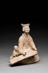 Hautaveistos, polvistuva nainen / Gravfigurin, knäböjande kvinna / Tomb figurine, kneeling woman; Wei-dynasty; DAM6169