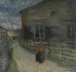 Kylätie Suursaaressa / Byväg på Hogland / Village road in Suursaari ; Helenius, Ester; 1916; DAM1172