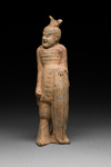 Hautaveistos, seisova tataarisoturi / Gravfigurin, stående tatarkrigare / Tomb figurine, standing tatar warrior; Wei-dynasty; DAM6172