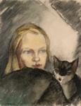 Tyttö ja kissa / Flicka med katt / Girl with a cat; Cawén, Alvar; 1921; DAM1010