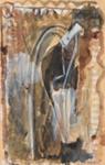 Figuuri ja veistos ruskeassa tilassa / Figur och skulptur i brunt landskap / Figure and sculpture in a brown landscape ; Hiironen, Eero; 1999; DAM1299