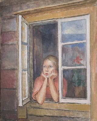 Tyttö ikkunassa / Flicka i fönstret / Girl in the window; Cawén, Alvar; 1930; DAM1007