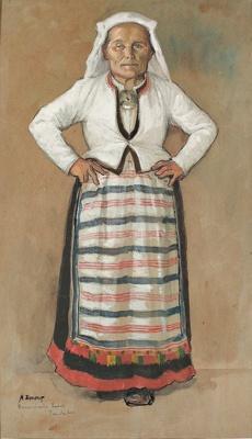 Hannonhaudon emäntä / Karelsk bondvärdinna / Karelian peasant wife; Edelfelt, Albert; 1887; DAM1017