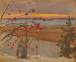 Talvimaisema (Auringonlasku) / Vinterlandskap (Solnedgång) / Winter landscape (Sunset); Järnefelt, Eero; 1915; DAM1036