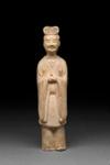 Hautaveistos, seisova hovimies / Gravfigurin, stående hovman / Tomb figurine, standing courtier; Sui-dynasty; DAM6208