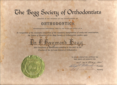 Document:  Framed Certificate awarded to Dr P. Raymond Begg; The Begg Society of Orthodontics; 1964; AR#1816