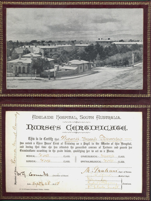 Nurses Certificate belonging to Florence Maud Boundy; Adelaide Hospital; 1918; AR#1762