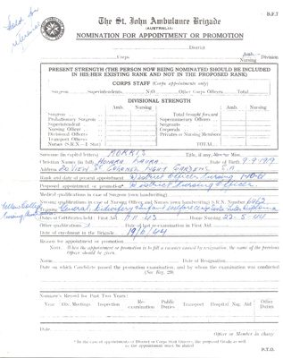 Certificate: St John Ambulance Brigade, Nomination for appointment or promotion for Honor Morris; AR#46