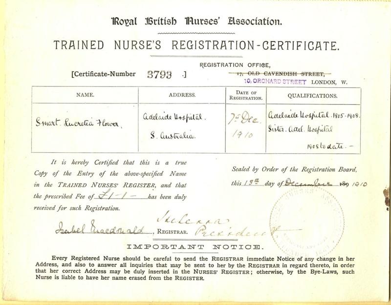 Certificate Royal British Nurses Association Trained Nurses
