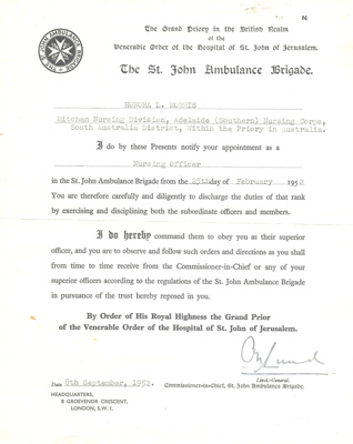 Document:  St John Ambulance appointment of Nursing Officer certificate belonging to Honor Morris; 1952; AR#47