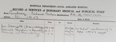 Biography information regarding Richard Graham Pembrey; 1969 - 1974; AR#7287