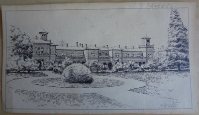 Artwork: Lithograph print of 1850s hospital; c1950; AR#7358