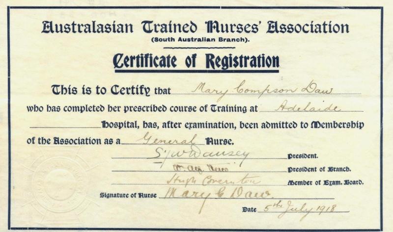 Certificate: Australasian Trained Nurses\' Association Certificate of ...