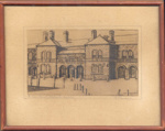"Artwork: Pencil Drawing, Framed ""The Courtyard, Adelaide Hospital. E Barons""; Ca 1920; AR#766"