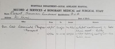 Biography information regarding Norman Andrew Peart; 1965 - 1966; AR#7281
