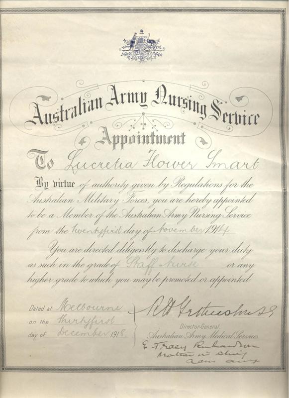 Certificate Australian Army Nursing Service Appointment 1914 Ar
